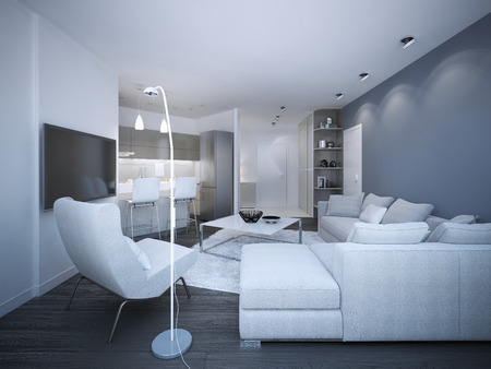 blue white kitchen: White elegant studio apartment. Blue and white walls, corner sofa with pillows, small kitchen on background. 3D render