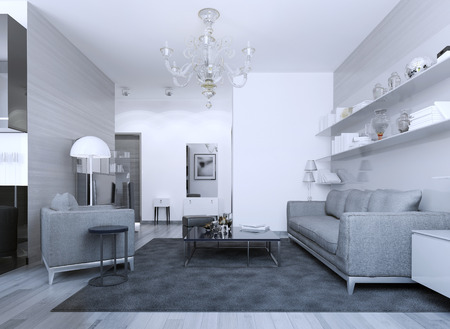 carpet and flooring: Cozy modern gothic lounge. Mixed white and zebrano facade walls. 3D render