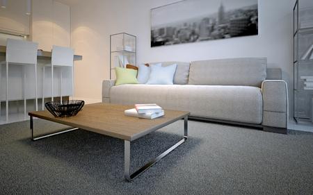 스칸디나비아 거실 디자인. 색깔의 베개와 우주 라떼 소파 앞에 두꺼운 더미 카펫에 간단한 테이블. 3D 렌더링