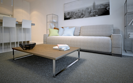 Scandinavian lounge room design. Simple table on thick pile carpet in front of cosmic latte sofa with colored pillows. 3D render