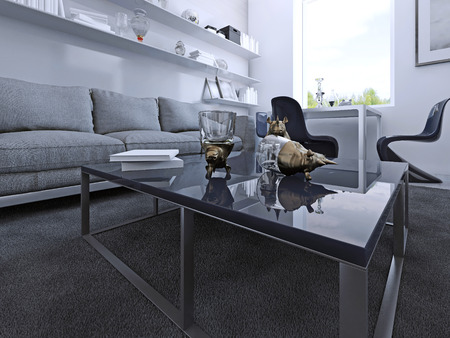 carpet and flooring: Dark blue coffe table with decoration in modern gothic lounge. 3D render
