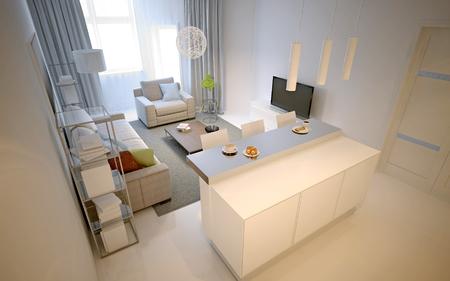 White studio apartments. 3D render Stock Photo