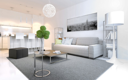 Scandinavian style apartments. Bright interior with elegant kitchen of white color.   furniture. 3D render