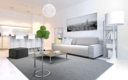 Scandinavische stijl appartementen. licht interieur met elegante ...