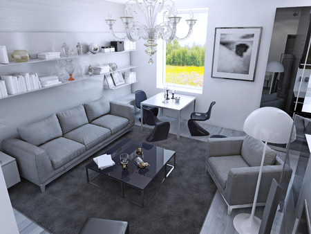 carpet and flooring: Contemporary living room in daylight. Room with dining table in gothic style. Light grey furniture, wet asphalt color carpet on laminate flooring, white wallls. 3D render
