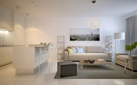 Contemporary studio apartments. Spacious solution for interior of living room studio in white color. 3D render