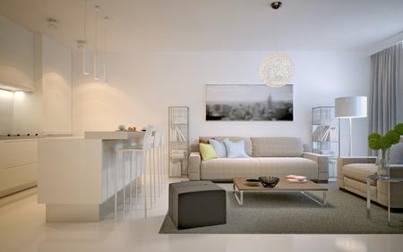 color in: Apartamentos estudio contemporáneo. Amplia solución para el interior del estudio de la sala de estar en el color blanco. 3D render