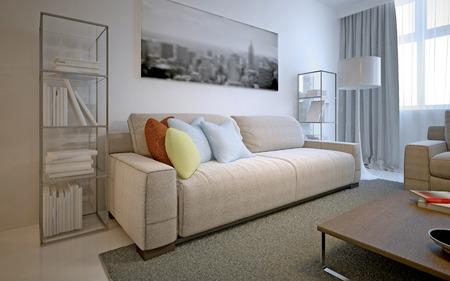 carpet and flooring: Bright solution for modern living room. White walls, polishtd contrete flooring, tich pile carpet, cosmic latte sofa and glass shelves on both sides. 3D render