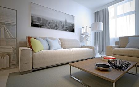 Fresh solution for the living room - white interior. 3D render