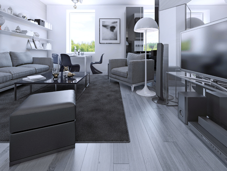 color design: Living room studio in private house. Grey colored room with laminate flooring, media system, sitting place, dining and luxury kitchen black color. 3D render