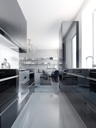 Modern black kitchen interior. Glossy cabinets black color with white acrylic countertop. Light grey polished concrete flooring. 3D render Stock Photo