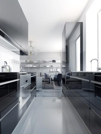 Modern zwart keuken interieur. Glanzende kasten zwarte kleur met witte acryl aanrecht. Lichtgrijze betonvloeren. 3D render Stockfoto