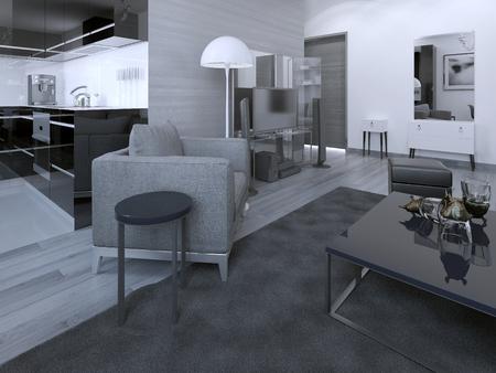 concrete: Luxury hotel apartments. 3D render Stock Photo