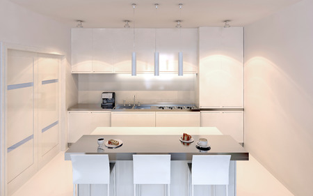 kitchen cabinets: Bright kitchen with island bar contemporary style. White furniture with ecru decor. White walls and polished varnish concrete floor. 3D render Stock Photo