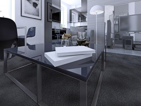 living room sofa: Table on luxury apartments. Thick pile wet asphalt carpet, white walls, dark furniture. 3D render