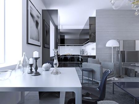 Wohnzimmer Im Modernen Stil. Elegantes Wohnzimmer Mit Weißen Wänden ...