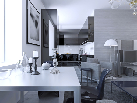 View of kitchen studio modern gothic. Shades of grey. Luxury interior of studio with kitchen, lounge and dining. 3D render