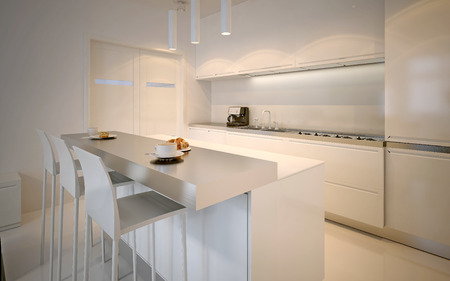 styles: Idea of scandinavian kitchen. Glossy cabinets, acrylic working countertops, neon lamps. 3D render Stock Photo