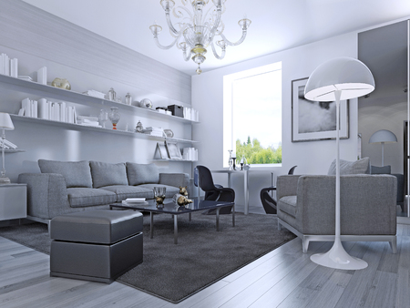 living: Living room in modern style. Elegant living room with white walls and light grey laminate flooring. Wall system with white shelves.  Stock Photo