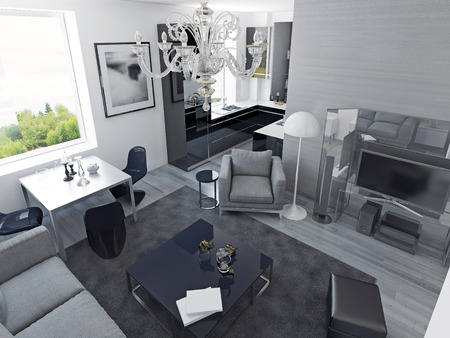 media center: Luxury apartments modern style. Living room studio with dining and black colored kitchen, expensive media center. 3D render