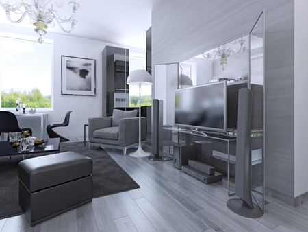 media center: Idea of studio apartments in black and white colors. Media center with large mirror behind. 3D render Stock Photo