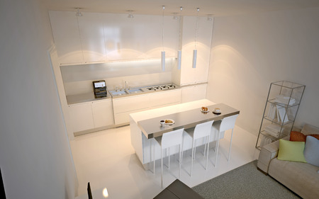 kitchen cabinets: Scandinavian kitchen studio. Luxury kitchen with island bar and chairs. 3D render
