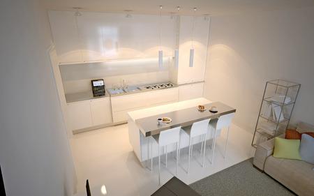 concrete: Scandinavian kitchen studio. Luxury kitchen with island bar and chairs. 3D render