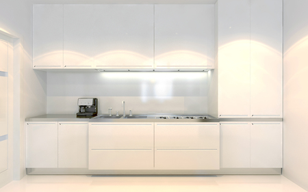 Contemporary kitchen trend. White furniture with ecru decoration. Front view. Using of white color. 3D render Stockfoto