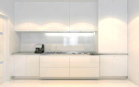 cucina moderna: Tendenza cucina contemporanea. Mobili bianchi con decorazioni ecru. Visione frontale. Uso di colore bianco. 3D render Archivio Fotografico