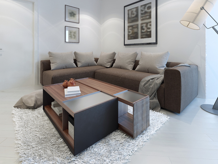 dark brown: Design of contemporary living room. Nice-looking room in cosmic latte color with an unusual table in the middle. 3D render