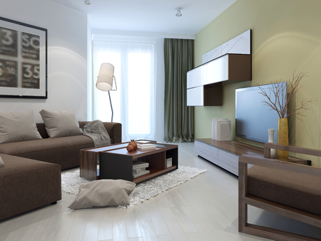 interior walls: Interior of bright fusion lounge. Tan and white colored walls, brown furniture and dark olive cushions. 3D render Stock Photo