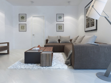 living style: White living room modern style. Large bright living room for a pleasant stay with corner sofa and functional table. 3D render Stock Photo