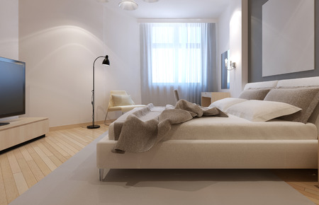 sconces: Idea of art deco bedroom in white color with light bisque furnirute and flooring. 3D render