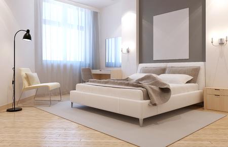 우아한 AVANGARD 침실 인테리어. 침대 뒤에 틈새 밝은 방, 침대 옆 테이블 위의 두 sconces, 큰 밝은 회색 카펫. 3D 렌더링