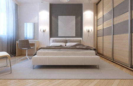Master bedroom avangard design. Soft double bed, dressing table, closet with sliding doors. 3D render Stockfoto
