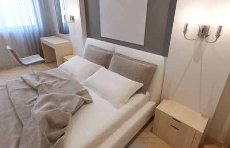 undone: Modern hotel apartment. Undone bed with light grey blanket and pillows, bisque colored furniture. 3D render