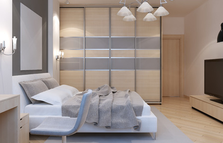 3d bedroom: Master bedroom art deco style. Large closet with sliding doors, white walls and light laminate. 3D render