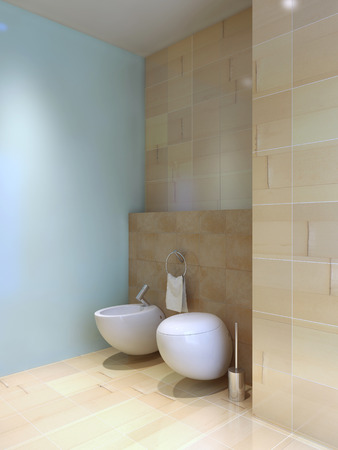 styled interior: Toilet and bidet near tiled wall. Fusion styled interior of wc. Contrast of light blue and lemon cream tiled walls. 3D render