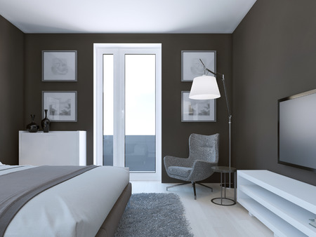 lamp shade: Cozy brown bedroom design with white and grey furniture. Entrance to balcony, floor lamp with light shade. 3D render