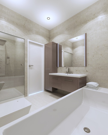interior walls: Idea of minimalist bathroom in private house. 3D render Stock Photo