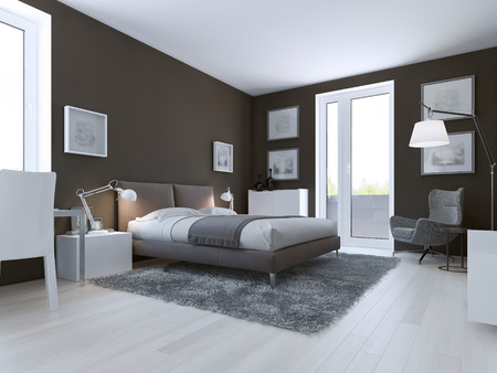 linoleum: Contemporary bedroom design. Taupe matt walls, double dressed bed and entrance to balcony. 3D render Stock Photo