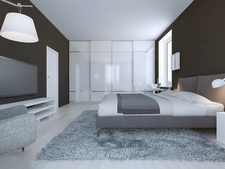 closet: Spacious bedroom minimalist style. Dark brown walls, dressed double bed and large closet with sliding doors. 3D render