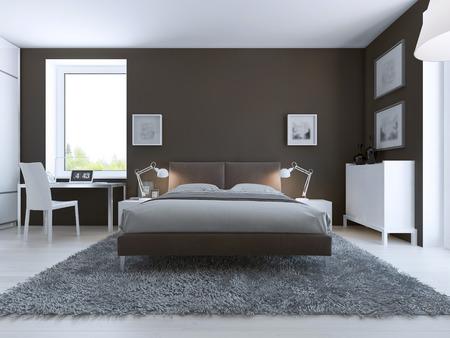 ruime slaapkamer minimalistische stijl donkerbruin muren gekleed