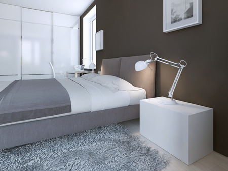 bedside: Idea of contemporary bedroom. Good bed - beautiful, stylish and eco-friendly bed and a nice touch that, which is nice to look at. 3D render