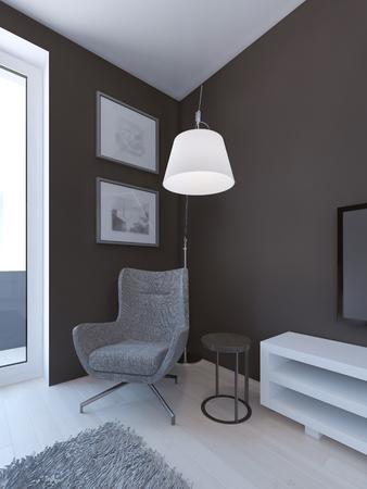 lamp light: English beroom interior. Grey armchair  and floor lamp near door. Dark brown walls, light flooring and grey carpet. 3D render Stock Photo