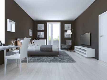 linoleum: View of spacious hotel room in taupe. 3D render Stock Photo