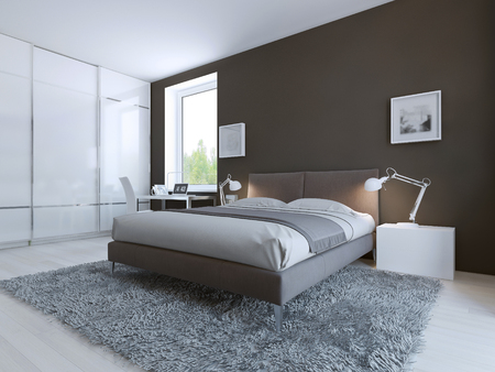 좋은 휴식을위한 미니멀 한 침실. 큰 바닥은 슬라이딩 도어와 옷장 ceilin합니다. 화이트 라미네이트 바닥과 어두운 갈색 벽. 3D 렌더링