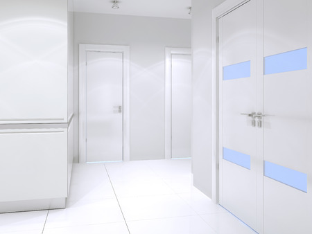 closet door: Snowy-white entrance high-tech style. White closet with glossy walls, double door entrance. 3D render