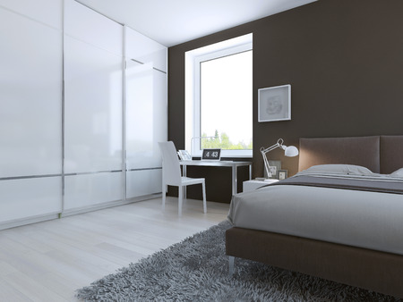 Werkplek in high-tech slaapkamer. 3D render Stockfoto