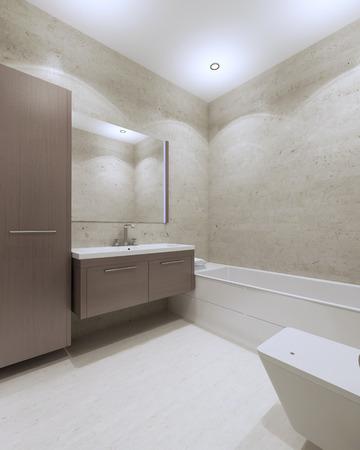 Modern Bathroom With Brown Furniture, Large Mirror, White Laminate ...